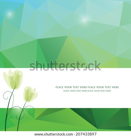 Spring triangle pattern in green and blue colors. Vector background for web and mobile design. Corporate style and identity version.  Wallpapers, website and banners design.Tulip flower. - stock vector