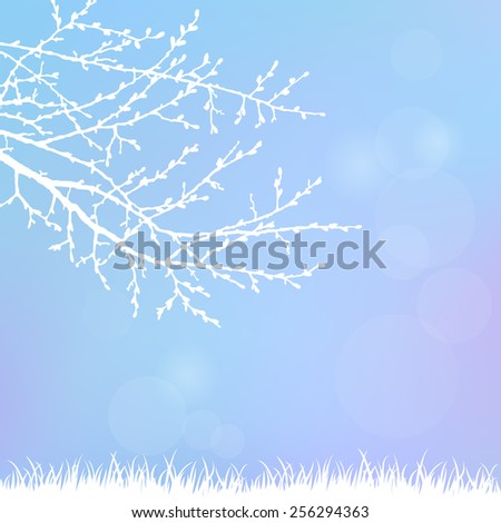 Spring twig tree and grass on a blue background. Spring holiday card with place for text. Stylish fashion background - stock vector