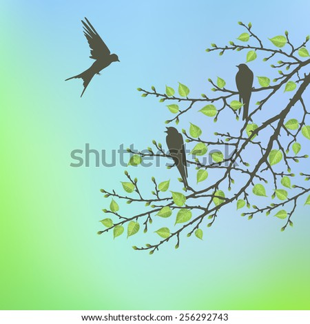 Spring twig tree with bird on a blue background. Spring holiday card with place for text. Stylish fashion background - stock vector