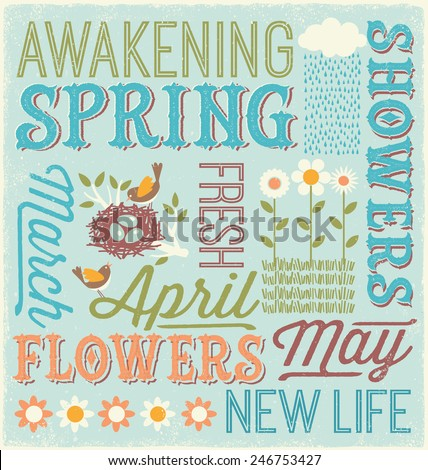 Spring typography design - stock vector