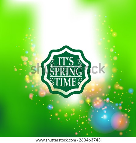 Spring Typography Sticker, Tag , Banner or Tag on Green Background . Vector Illustration .  - stock vector
