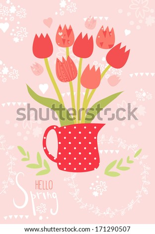 Spring vector greeting card: beautiful tulips in vase on ornamental background. - stock vector