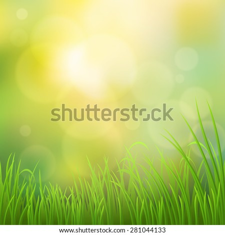 Spring vector nature background with green grass - stock vector