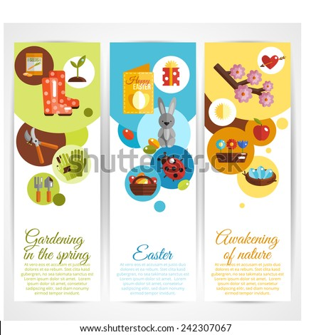 Spring vertical decorative banners set with gardening easter awakening of nature elements isolated vector illustration - stock vector