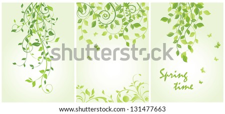Spring vertical floral banners - stock vector