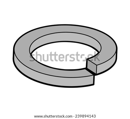 Spring washer isolated on white background. - stock vector