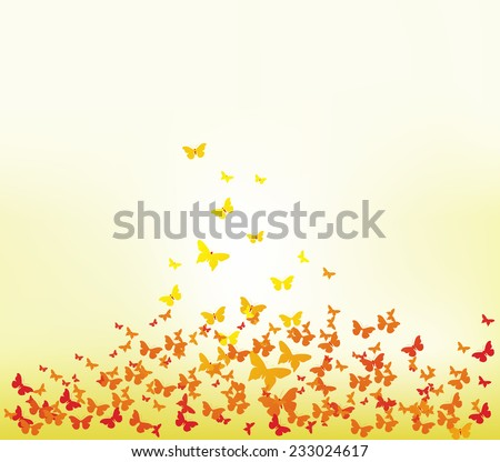 spring with colorful butterflies - stock vector
