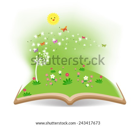 Spring with dandelion in the book - stock vector