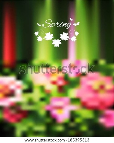 Spring word, flowers and butterfly vector.  Flowers blur background, web and mobile interface template. Eco design.  - stock vector