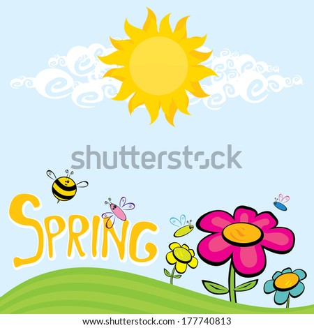 Spring word, flowers and butterfly vector. spring landscape illustration - stock vector