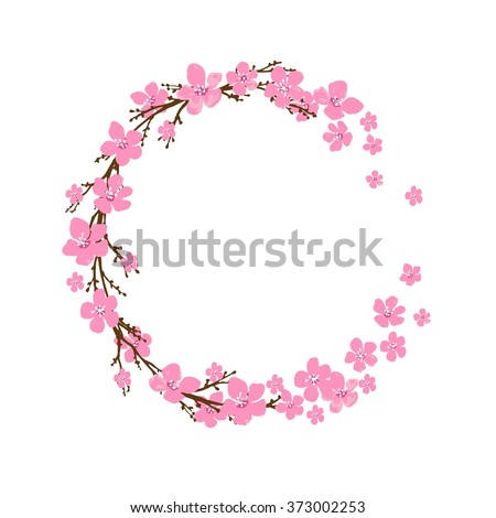 Spring wreath with cherry blossoms. Place for text. - stock vector