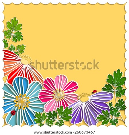 Springtime Colorful Paper Cut Flower on Yellow Background - stock vector