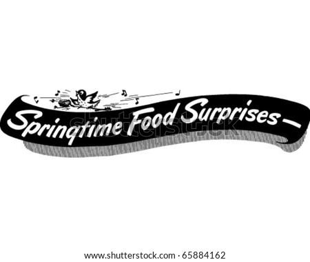 Springtime Food Surprises - Ad Banner - Retro Clipart - stock vector