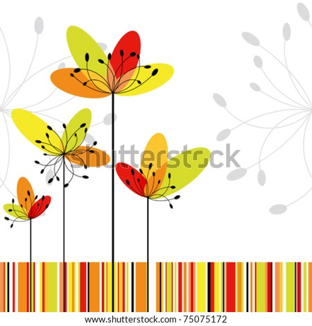 Springtime greeting card abstract flower on colorful stripe background - stock vector