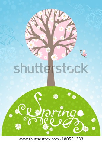 Springtime. Spring tree in bloom. There is place for your text. - stock vector