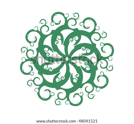 Springtime swirls with botany floral elements, vector illustration - stock vector