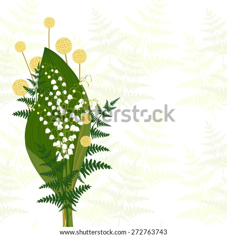 Springtime White Lily of The Valley, Fern Leaf, Craspedia - stock vector