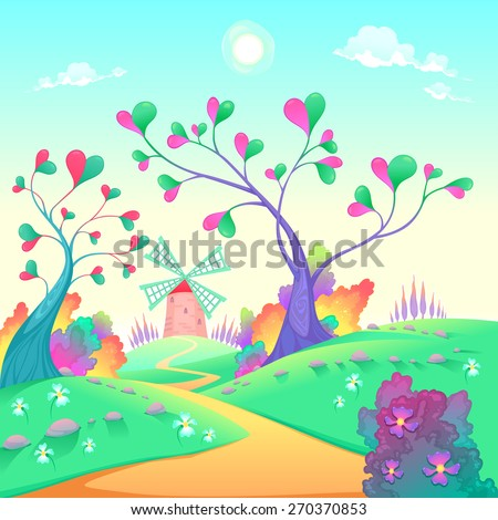 Springy landscape with windmill. Funny cartoon and vector illustration. - stock vector
