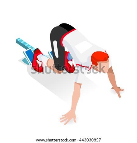 Sprinter Runner Athlete at Starting Line Athletics Race Start Summer Games Icon Set. Flat Isometric Sport Athletics White Man Runner Athlete at Starting Blocks.Olympics Sport Infographic Vector Image - stock vector