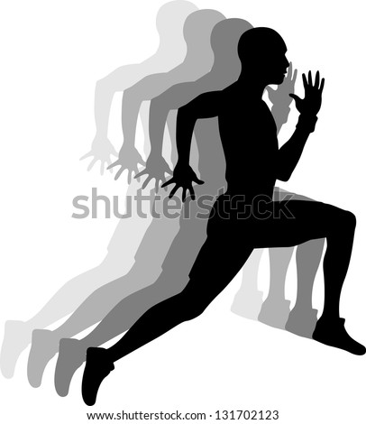 Sprinters, vector background - stock vector