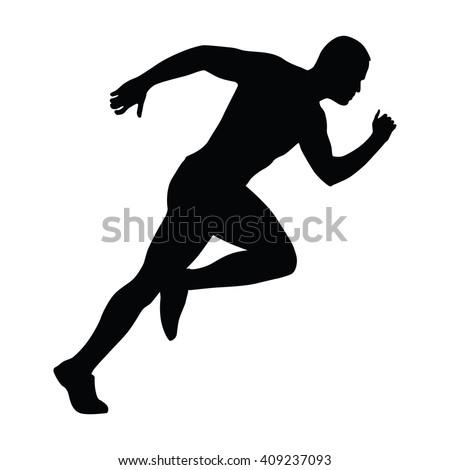 Sprinting man vector silhouette. Sprint, fast run. Runner starts running. Start. - stock vector