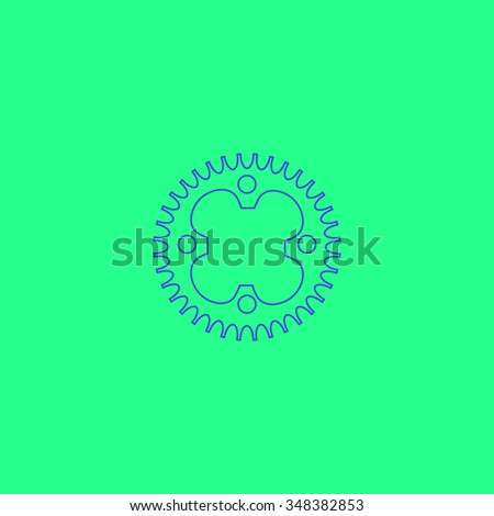 Sprockets Simple outline vector icon on green background  - stock vector