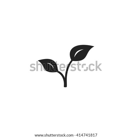 Sprout Icon Fill Black - stock vector