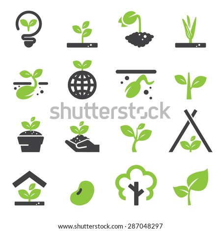 sprout icon set - stock vector