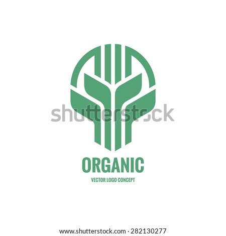 Sprouts and leaves - vector logo concept illustration. Organic logo. Ecology logo. Leafs logo. Bio logo. Nature logo. Agriculture logo. Vector logo template. Design element.  - stock vector