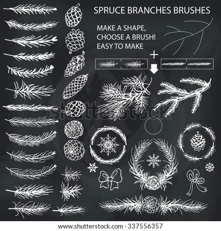 Spruce branches,pine,cones white silhouette set.Brushes,wreath,line borders.Christmas tree decor elements for invitations,card,banner.New year holiday vector,nature Winter template - stock vector