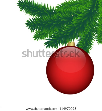 spruce branches with bright red ball for the new year - stock vector