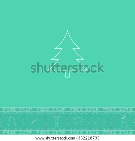 Spruce, christmas tree. White outline flat symbol and bonus icon. Simple vector illustration pictogram on green background - stock vector