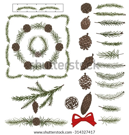 Spruce green branches,pine,cones brushes,Christmas tree.Green wreath,line borders decor elements for invitations,print,feb,card,banner.New year holiday vector,nature illustration,Winter template - stock vector