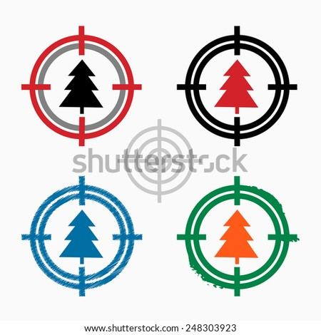 Spruce on target icons background. Crosshair icon. Vector illustration. - stock vector