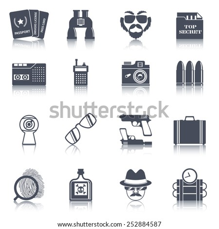 Spy agent gear gadgets and accessories black icons set with false identity documents abstract isolated vector illustration - stock vector