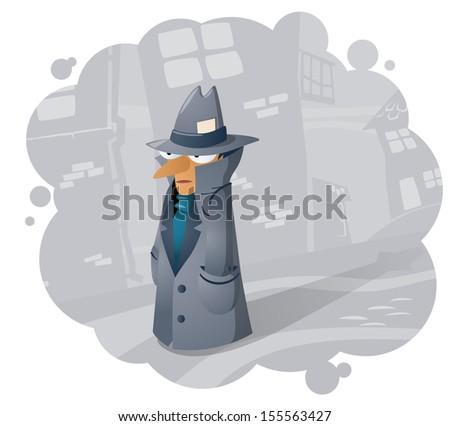 Spy agent, illustration - stock vector