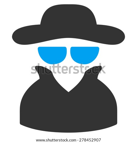 Spy icon from Business Bicolor Set. This isolated flat symbol uses modern corporation light blue and gray colors. - stock vector