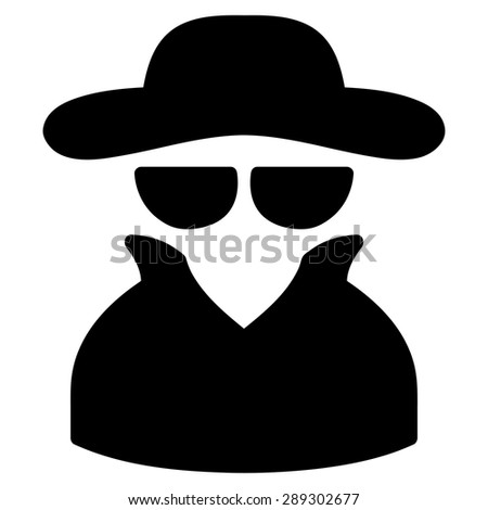 Spy icon from Business Bicolor Set. Vector style: flat symbol, black color, rounded angles, white background. - stock vector