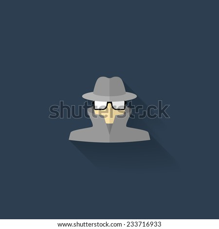 Spy icon with shadow - stock vector