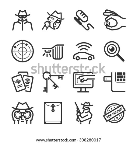 Spy icons - stock vector