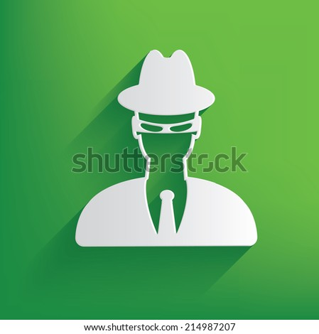 Spy symbol on green background,clean vector - stock vector