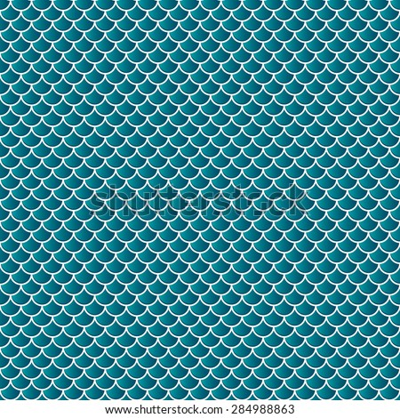 Squama fish snake lizard scales seamless background. Green pattern. - stock vector