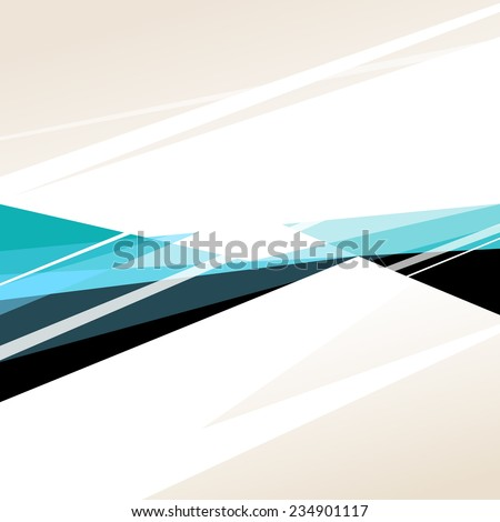 Square abstract background with black, white and blue graphic elements. Vector illustration. - stock vector