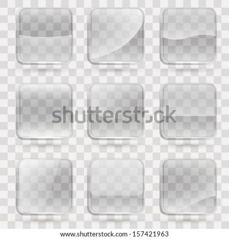 Square application transparent glass buttons or app banners with rounded corners and different gloss reflection effect over, eps10 vector - stock vector