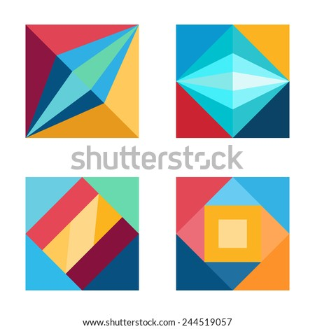 Square arrows abstract logos elements set. - stock vector