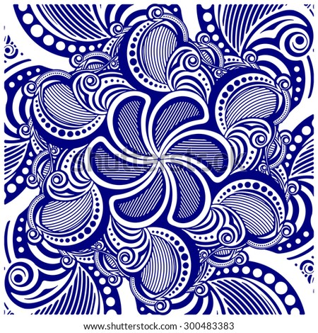 Square asymmetrical decorative element - lace mandala in zentangle style. Stylized vector illustration for design or tattoo.  - stock vector