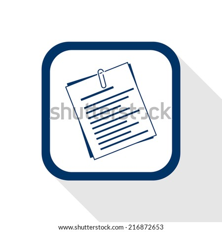 square blue icon document with long shadow - symbol of info, information, paper, form, office work, secretariat      - stock vector