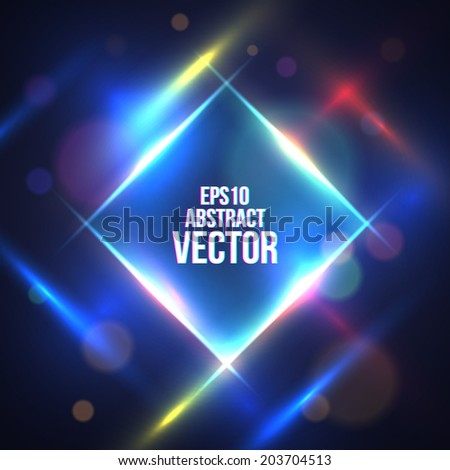 Square Border with Light Effects. Vector illustration for your artwork, party flyers, posters. - stock vector