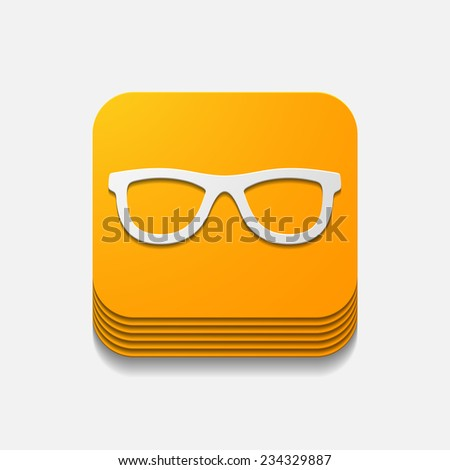 square button: glasses - stock vector