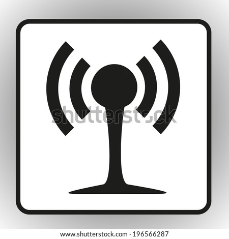 square button on a gray background Wireless Network Symbol - stock vector